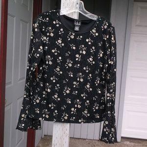 I.N.C Black LACE floral  Flutter sleeve top